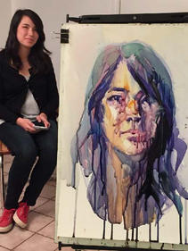 Three hours portrait session, watercolor on Yupo paper