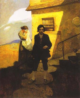 """Original pain """"Jim Hawkins Leaves Home"""" by N.C. Wyeth"""