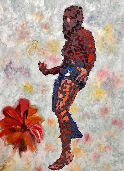 Fractal Figure Red Flower by Anya Rubin