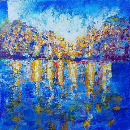 """Reflection of the city lights on the seashore"" by Olga Malamud-Pavlovich"