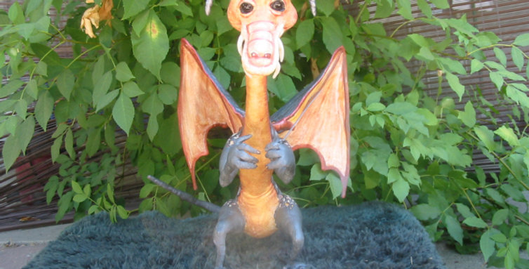 OOAK Primitive Folk Art JABBERWOCK Dragon from Alice in Wonderland