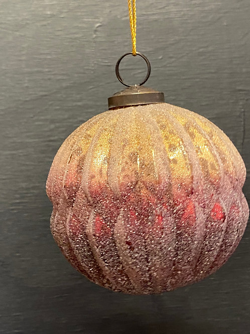 red & metalic frosted glass ornament