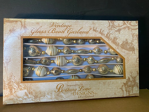 6' vintage glass bead garland