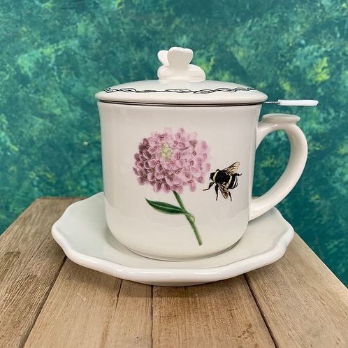 Tea Strainer Mug/Saucer with Lid...Bee withFlower