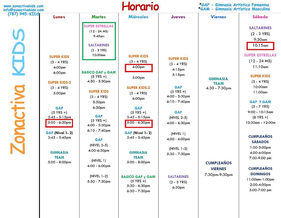 Horario de Clases Zonactiva  KIDS 2020.j