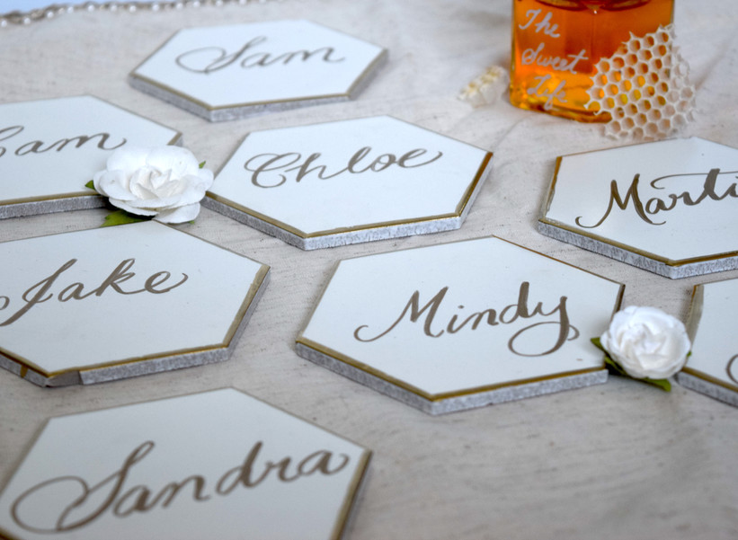 Bee theme tile place cards
