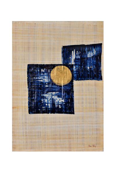 """""""Céleste solitude"""". Encres sur papyrus. 50X70"""