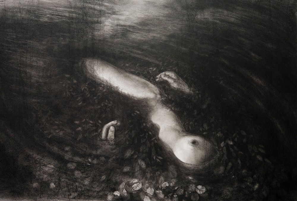 Still water - charcaoal on paper