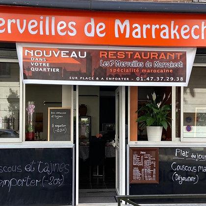 Menu Suspendu pour les étudiants chez Restaurant Les 7 Merveilles De Marrakech