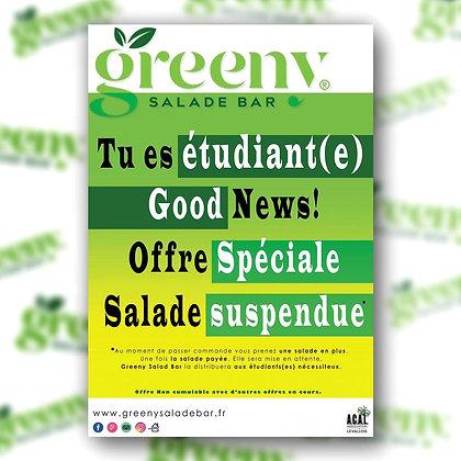 Menu Suspendu pour les étudiants chez Greeny Bar -  92 Rue Aristide Briand