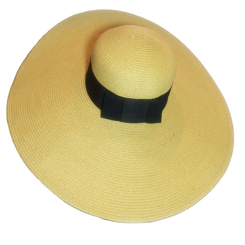 60088576139 Extra wide brim sun hat in khaki color. Embellished with black 2 inch  grosgrain ribbon and bow detail.