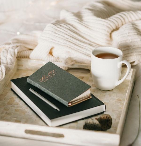 books & tea on a tray