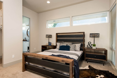 Edgy, rustic guest bedroom