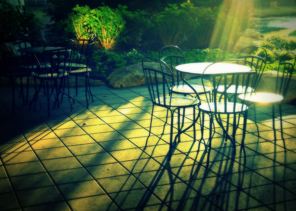 chairs on a sunny patio