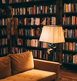 couch in fromt of shelves full of books