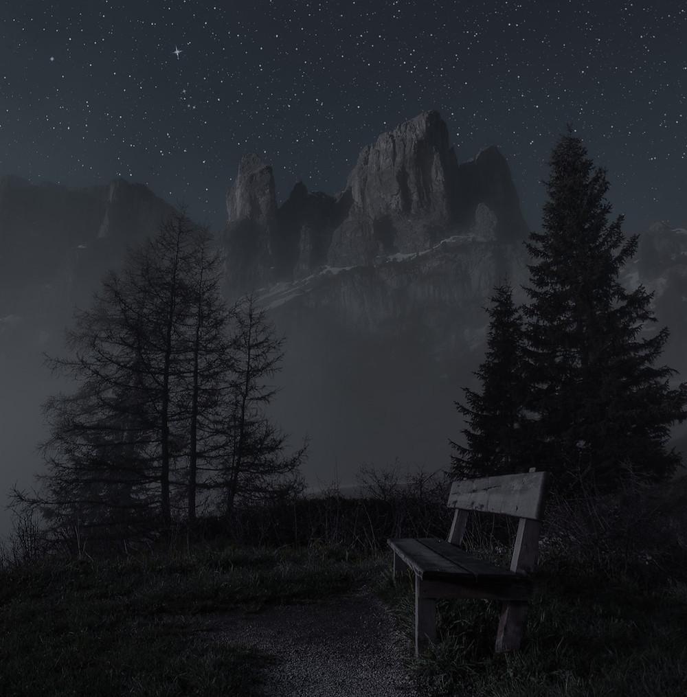 bench under starry sky