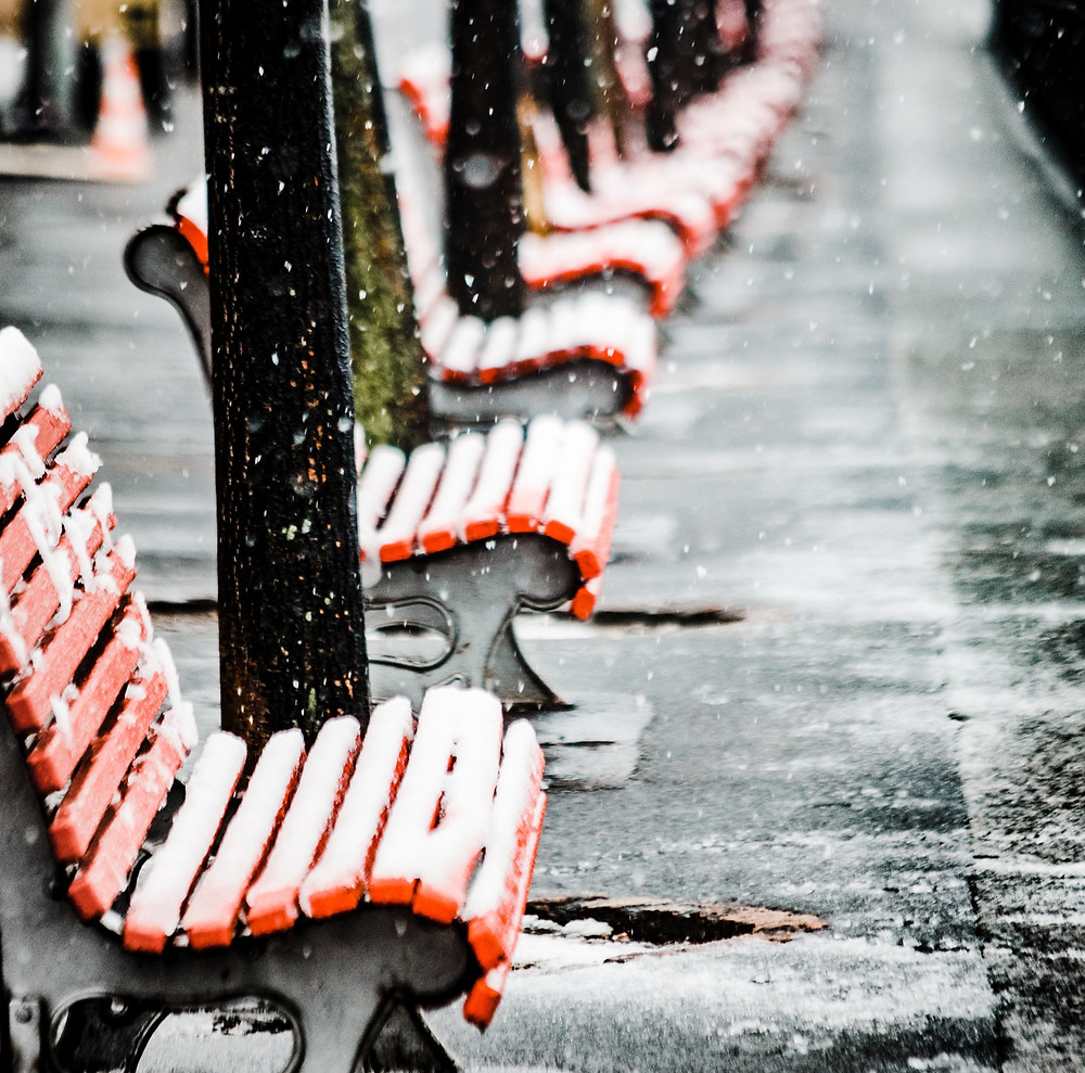 row of benches in snow
