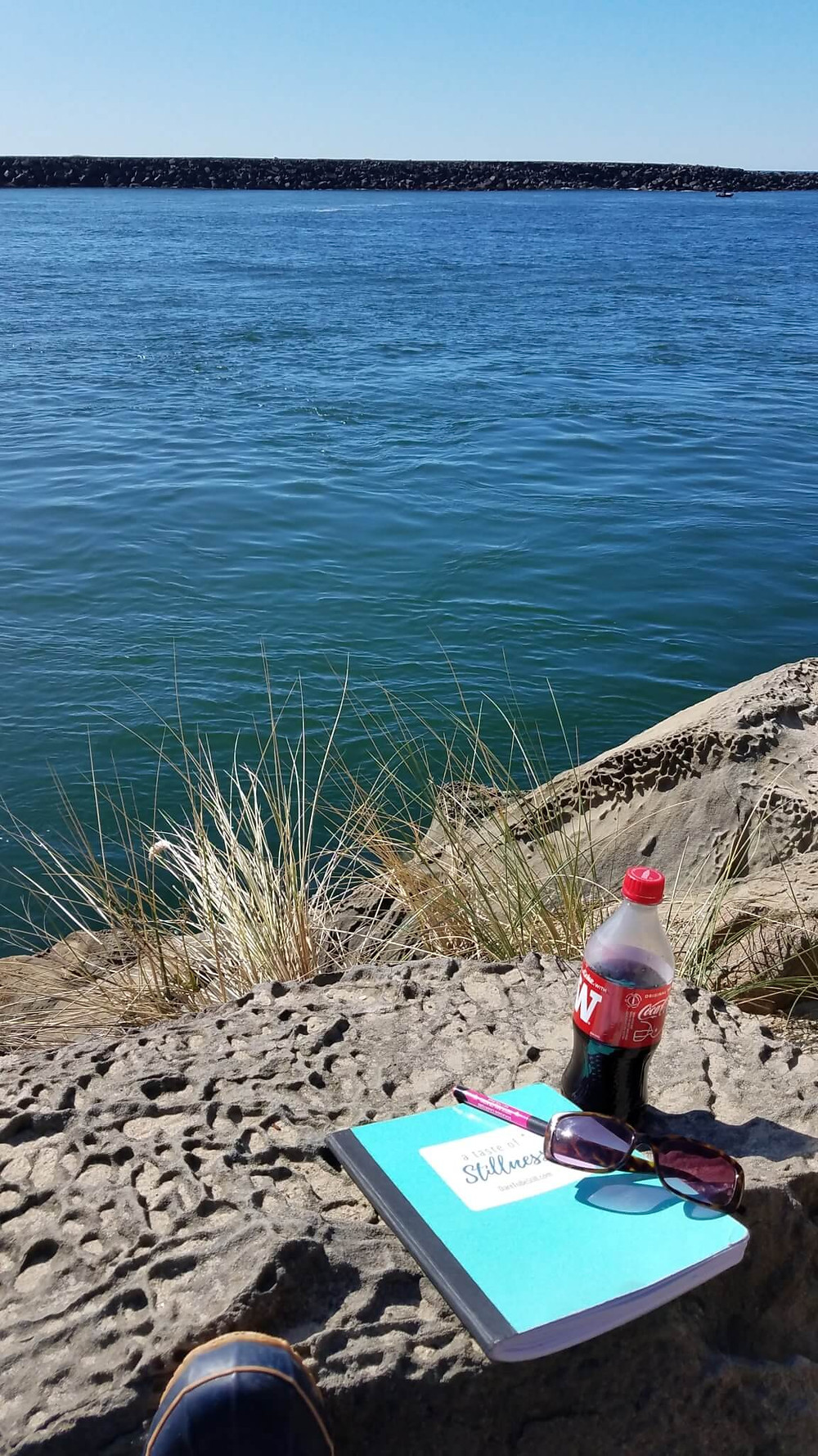 journaling by the ocean