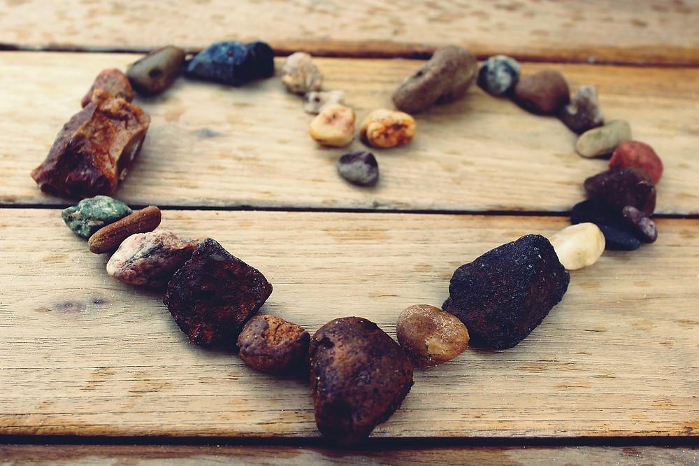 rocks laid in heart shape