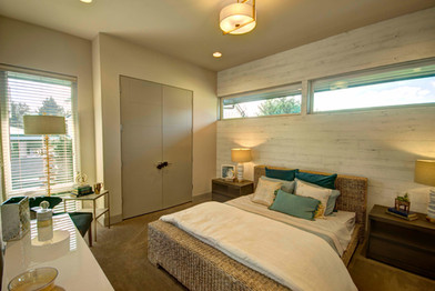 Soothing, beach-influenced guest bedroom