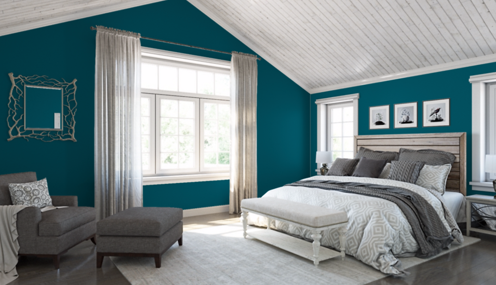 Sherwin Williams color Oceanside in a bedroom