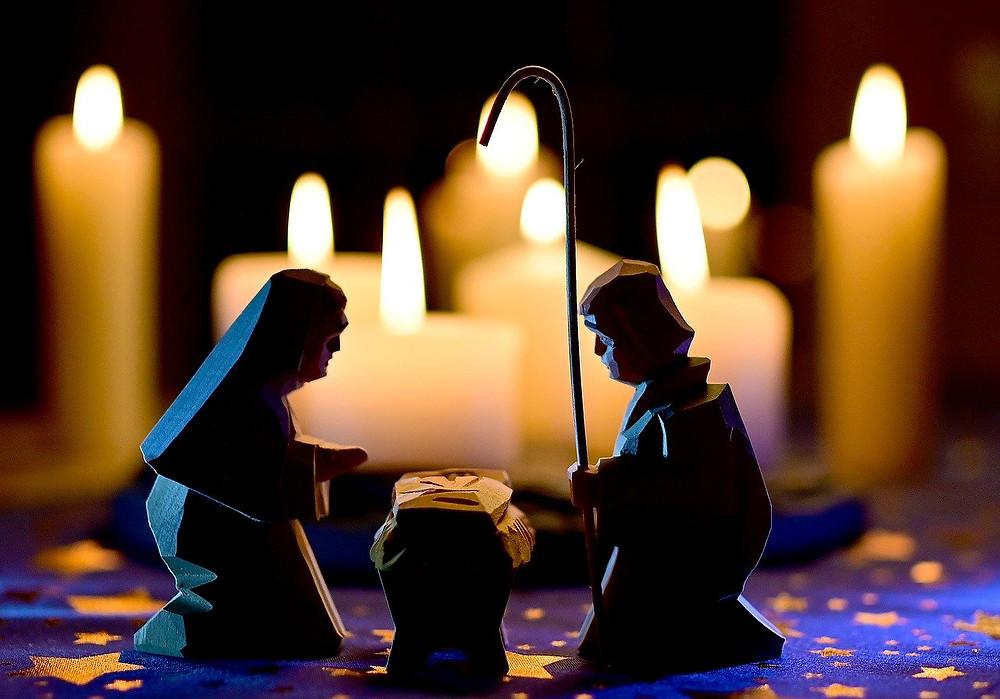 nativity scene in candlelight