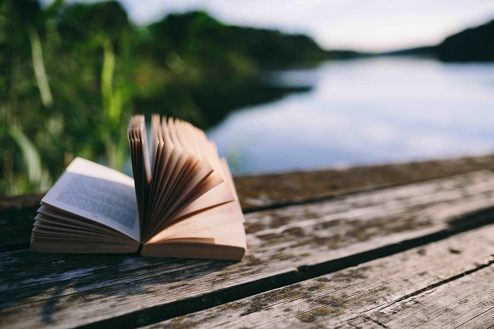 open book on dock