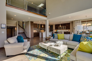 Contemporary great room with colorful accents