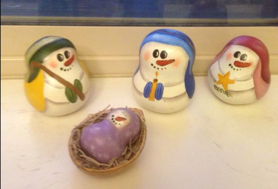 snowman nativity scene