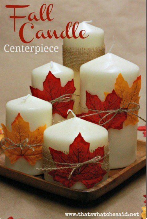 candles wrapped with leaves