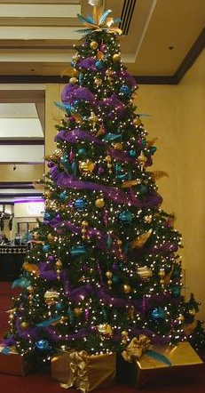 purple and teal Christmas decorations