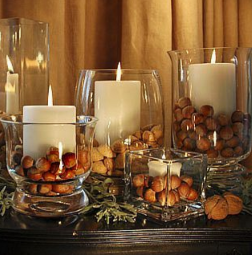 candle holders wth nuts
