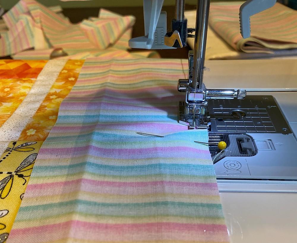 fabric in sewing machine