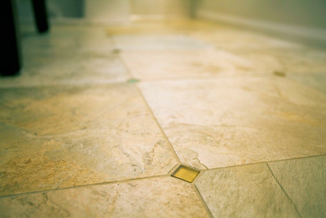 Glass tiles were added to the floor for some added interest and sparkle.