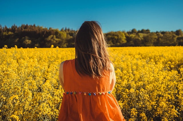 woman looking at field of yellow flowers