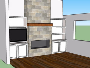 A 3D drawing helped us see the fireplace and cabinets from different angles.