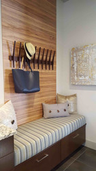 Contemporary touches defined the mud room area