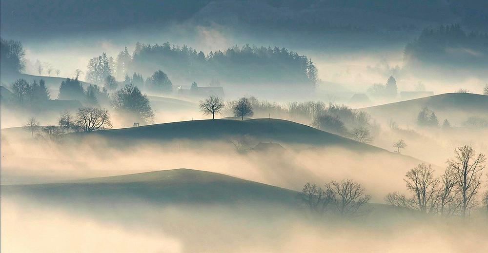 quiet misty scenery