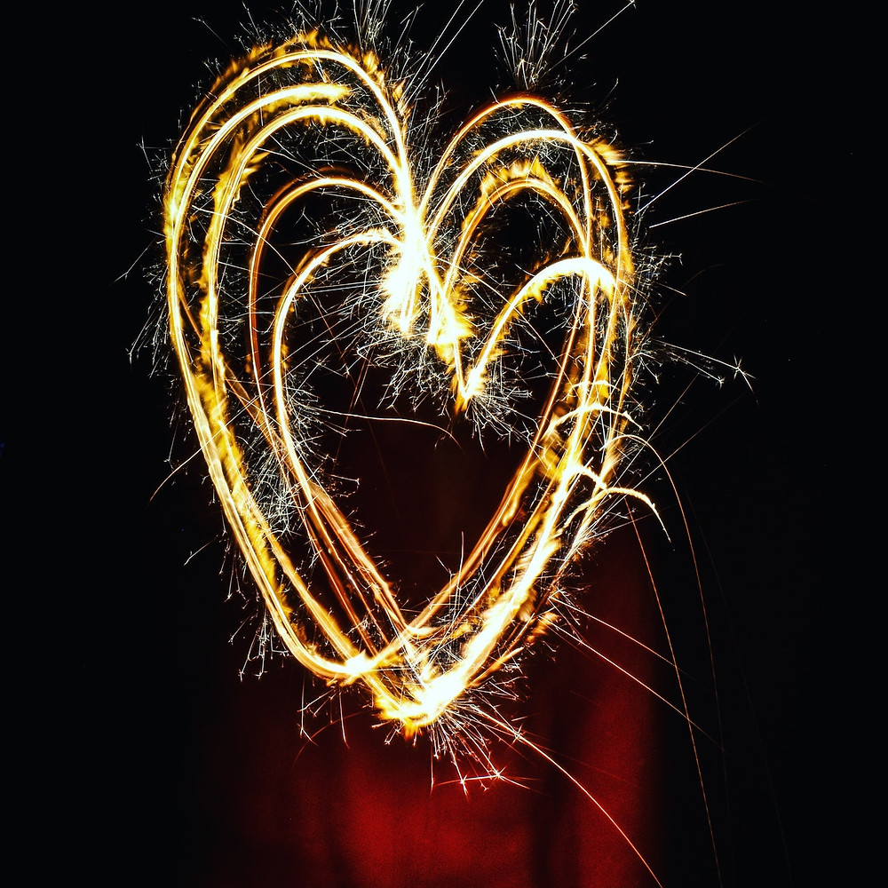 a heart of fireworks