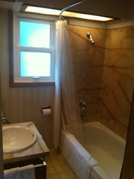 Here's a before picture that shows just how tiny this bathroom is. And how ready for a change it was!