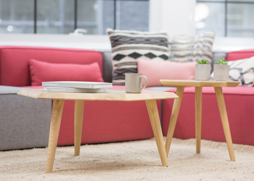 a sofa and coffee tables