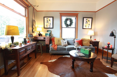 The electic family room with  a vintage desk for studying or paying bills