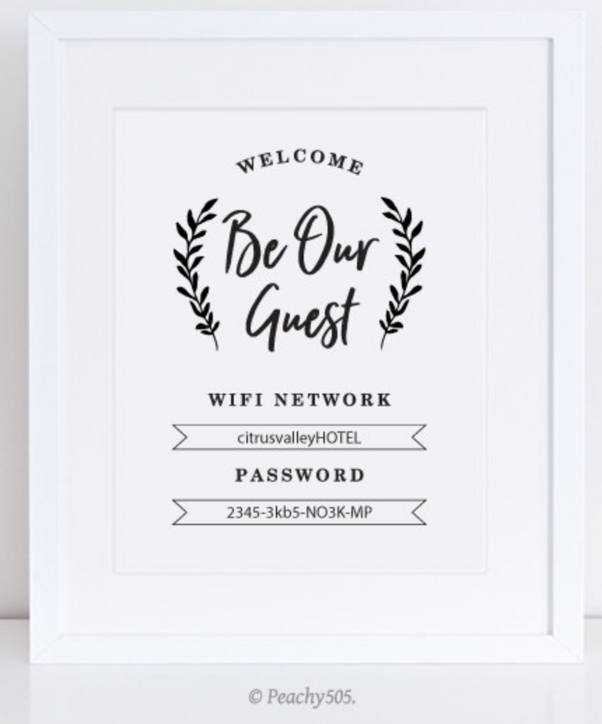 Framed printable wi-fi password