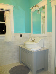 We found this vintage sink at Rejuvenation, and the blue was matched from a Tiffany jewelry box.