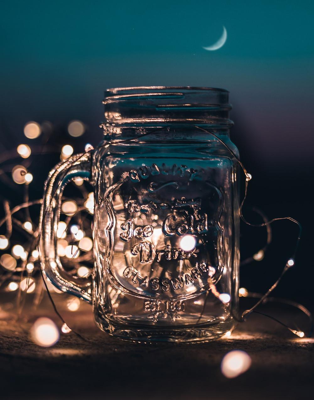 lights in glass jar
