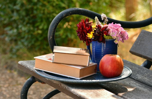apple and books on a bench