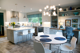 New mod kitchen table was added, complete with a whimsical light fixture.