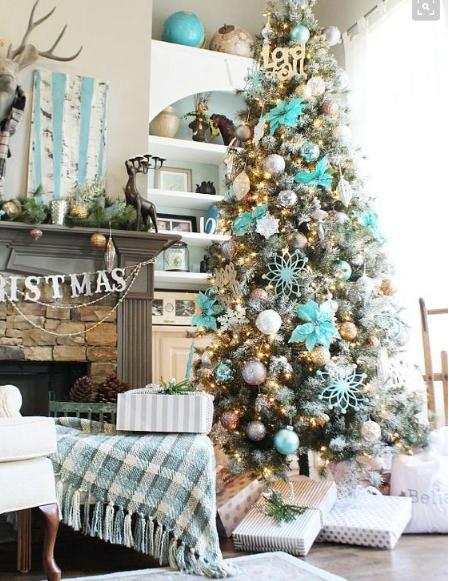 aqua Christmas decorations