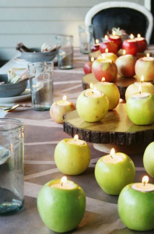 tea lights in apples