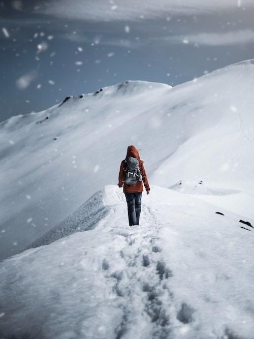 walking on snowy mountain